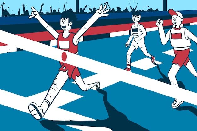 Läufer gewinnt marathonvektor