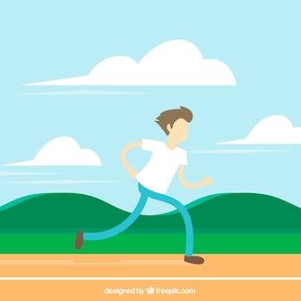 Läufer hintergrund in flachen design