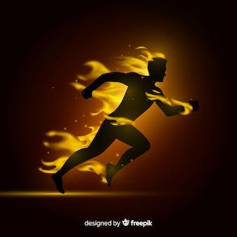 Läufer in flammen flachen stil