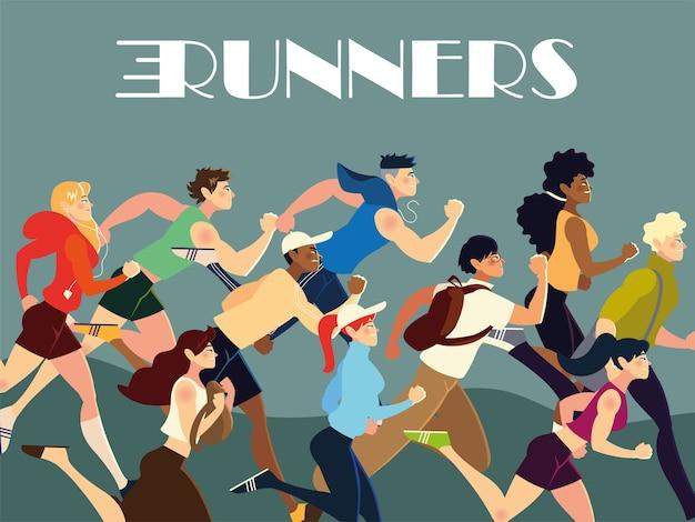 Läufer menschen charaktere üben verschiedene aktivität lebensstil illustration