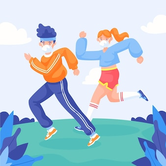 Läufer mit gesichtsmasken im freien Kostenlosen Vektoren