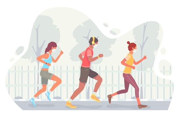 Läufer mit gesichtsmasken im freien