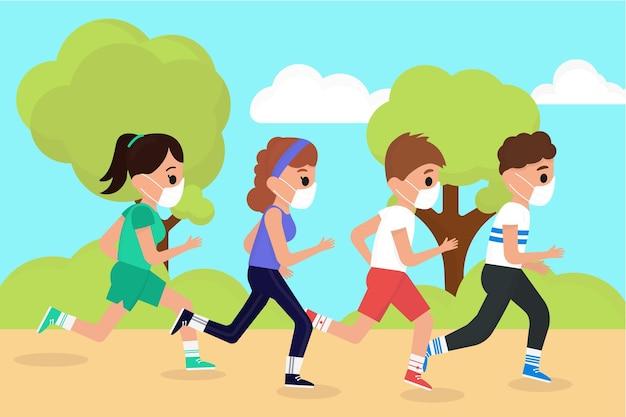 Läufer mit gesichtsmasken Kostenlosen Vektoren