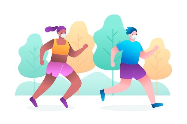 Läufer mit medizinischem maskenkonzept