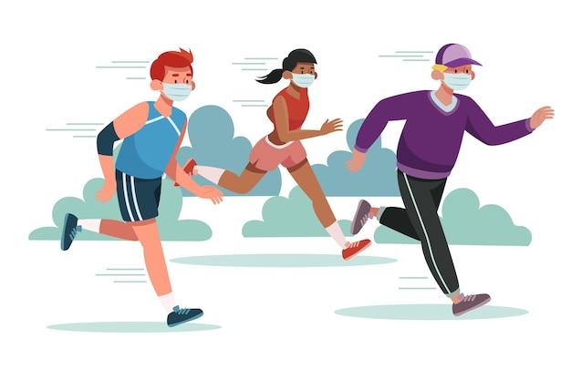 Läufer mit medizinischen masken gesetzt