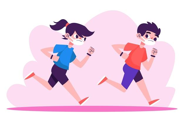 Läufer mit medizinischen masken im freien
