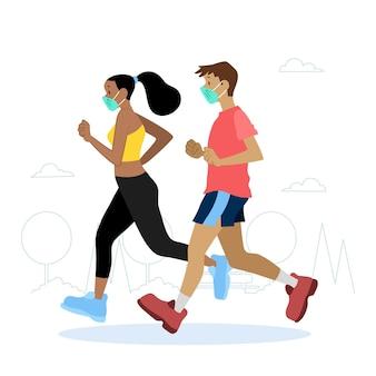 Läufer mit medizinischen masken