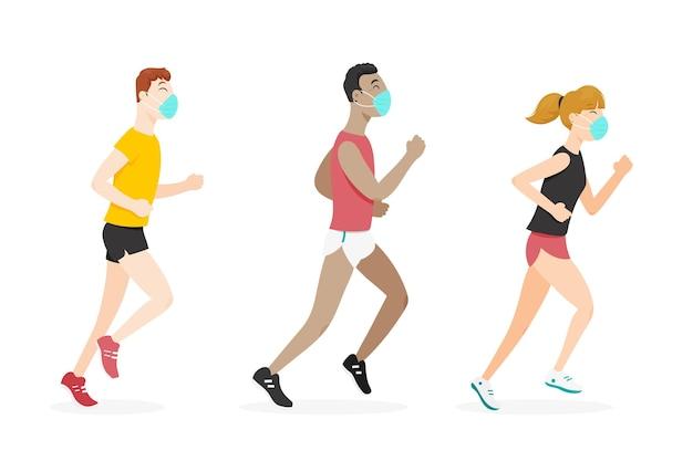 Läufer mit medizinischer maske