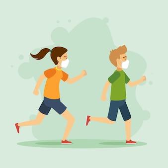 Läufer mit medizinischer maskensammlung