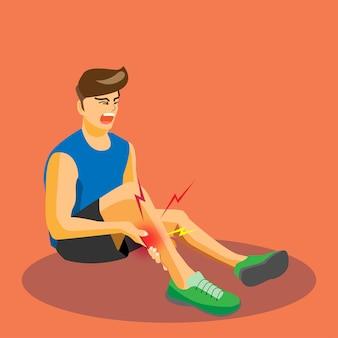 Läufer mit verletzten kalb weinend mit schmerzhaft.