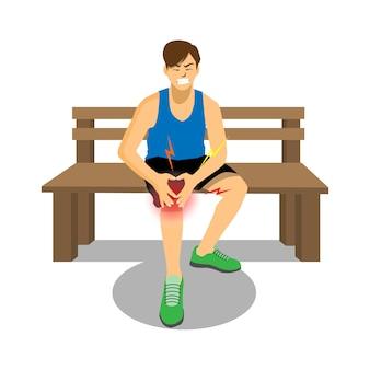 Läufer mit verletzten knie weinend mit schmerzhaft.