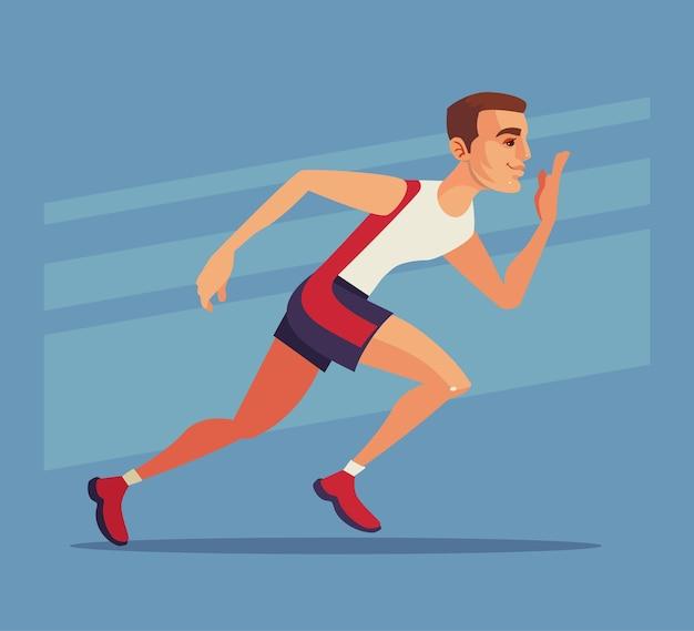 Läufer-sport-mann-charakter laufen schnell cartoon-illustration