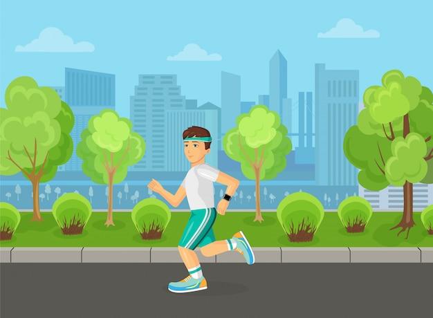 Läufermänner, die auf dem straßenstadtparkkonzept laufen.