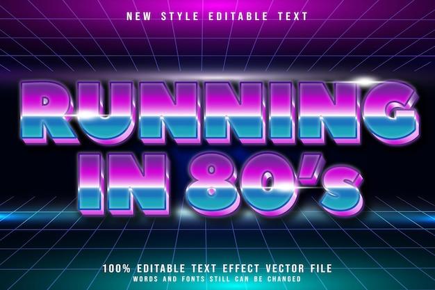 Läuft im 80er-jahre-bearbeitbaren texteffekt-prägung-retro-stil
