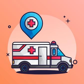 Lage des krankenwagens