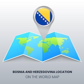 Lage von bosnien und herzegowina auf der weltkarte, round pin icon of bosnia