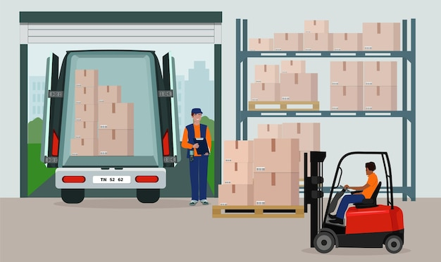 Lager des logistischen lagerdienstes. personal, regale, wertsachen, trolley, gabelstapler.