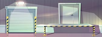 Lager mit Rolltoreingangstür und Entnahme der Dockplattform. Vektor-Illustration von Stor