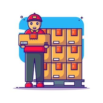 Lagerarbeiter mit palettenkasten-karikaturillustration