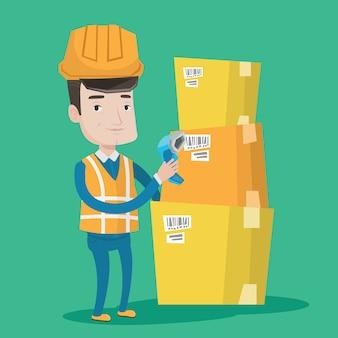 Lagerarbeiter scannt barcode auf box.