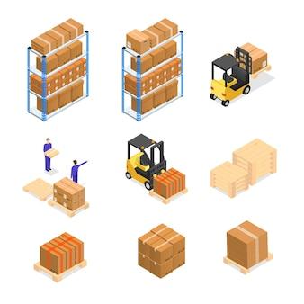 Lagerelemente, die mit mitarbeitern in einheitlicher geschäftszustellung oder logistik festgelegt wurden. isometrische ansicht.