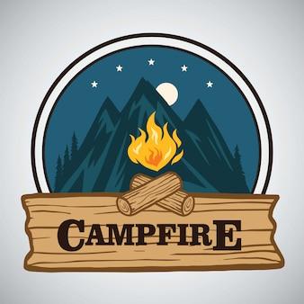 Lagerfeuer-bergabenteuer runder retro logo vector illustration design. vorlage für camping, abenteuerurlaub.