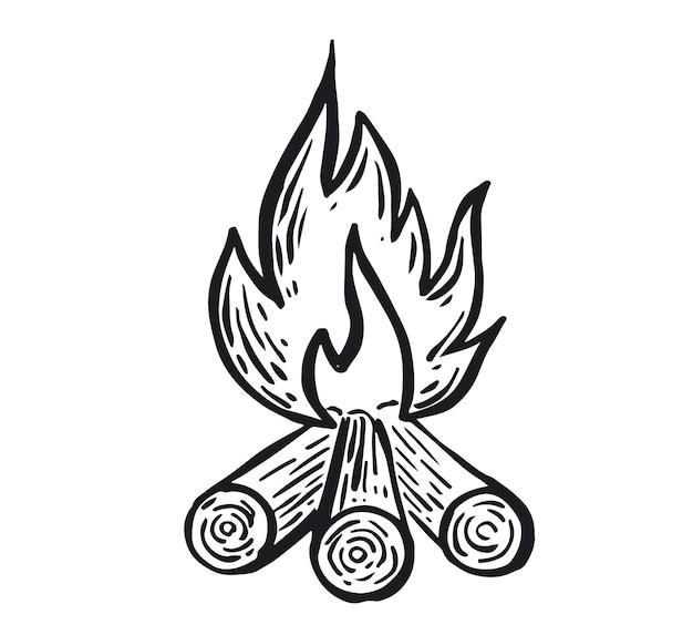 Lagerfeuer handgezeichnete illustration flamme brennen