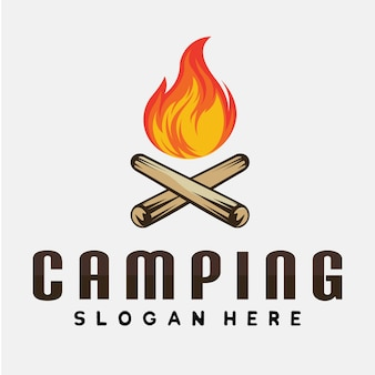 Lagerfeuer / lagerfeuer und camping logo inspiration vektor