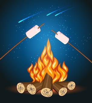Lagerfeuer mit marshmallow, campinggrill marshmallow-vektorillustration. marshmallow im freien, lagerfeuernacht, essen marshmallow stick