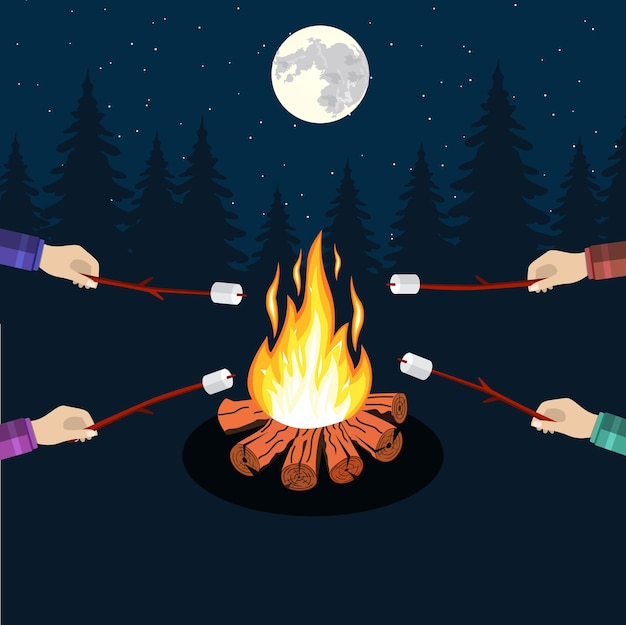 Lagerfeuer mit marshmallow