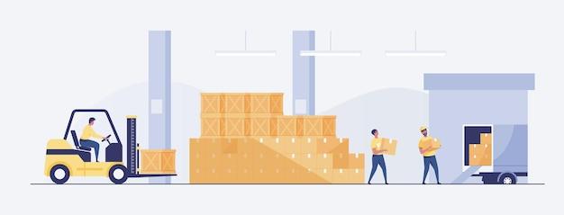 Lagerinnenraum mit kästen auf gestell und leuten, die arbeiten. logistik-lieferservice-konzept. vektor-illustration