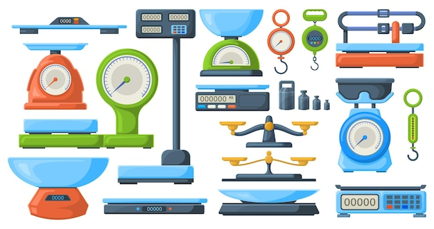 Lagern sie elektronische und mechanische waagen zur gewichtsmessung. markt- oder küchenmesswaage-instrument-vektor-illustrationssatz. waagensymbole