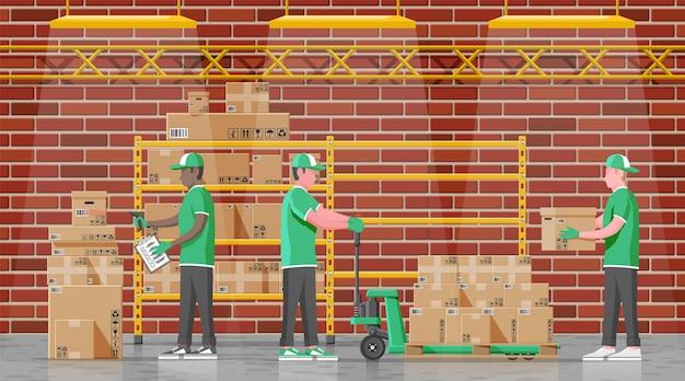 Lagerregale mit waren-, umzugs- und containerverpackungsboxen. stapel kartons eingestellt. karton-lieferverpackung offener und geschlossener karton mit zerbrechlichen schildern. vektorillustration im flachen stil