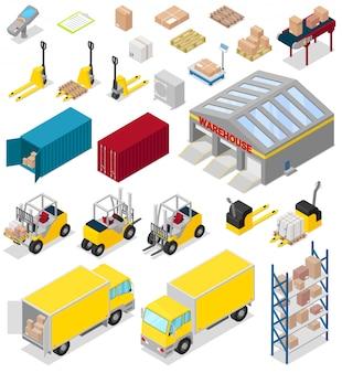 Lagerverteilungslagerungsindustrie im industriellen lagerhaus des lagerhausillustrationssatzes der frachtgeschäftslieferung