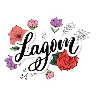 Lagom, das inspirierend handgeschriebenen text bedeutet. einfacher skandinavischer lebensstil.