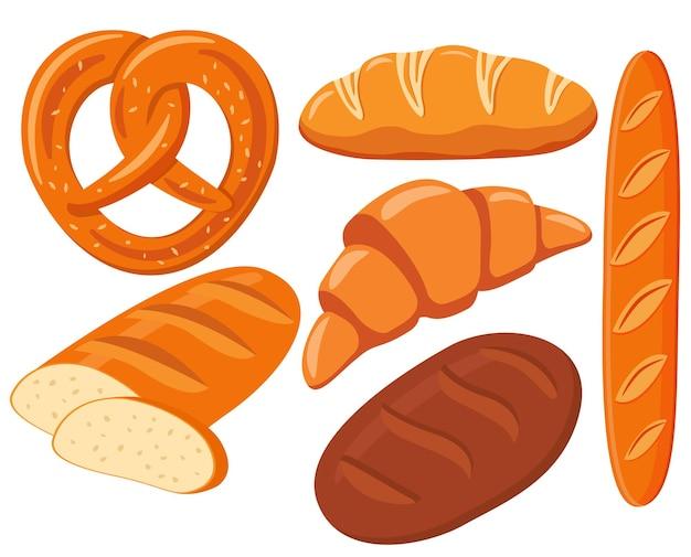 Laib weißbrot frisches bäckerbrezel roggenbrot croissant