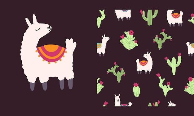 Lama alpaka nahtlose muster mit kaktus vektor-illustration von kindergartenfiguren im cartoon-stil