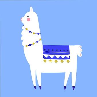 Lama-cartoon-figur. traditionelle quasten- und girlandendekoration. nette lamaillustration.