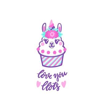 Lama cupcake mit blumenkranz und hornartiger einhorn-aufschrift liebe dich viel bedeuten viel