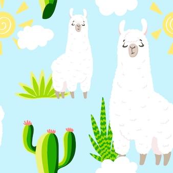 Lama im cartoon-stil. nahtloses muster. handgezeichnete abbildung. elemente für grußkarten, poster, banner. t-shirt, notizbuch und stickerdesign