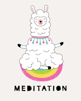 Lama meditiert im lotussitz.