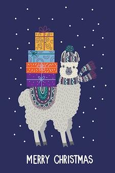 Lama mit geschenken