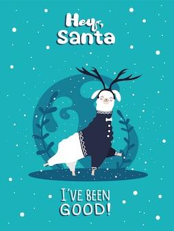Lama mit schnee und vielen details. lustige alpakahirsche. hey santa, ich habe mich gut benommen.