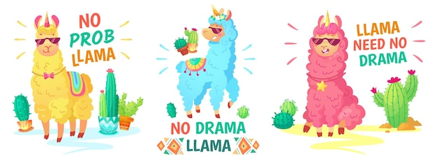 Lama-plakat. kein drama lama und kein prob lama