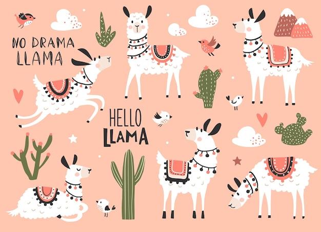 Lama-set, vektorfiguren für kinder-t-shirts und aufkleber-kit. handgezeichnete vektor-illustration.