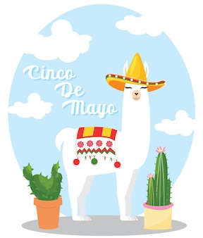 Lama sombrero hut niedlichen vektor-illustration kaktus ethnischen peru alpaka lama guanaco