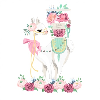 Lama und blumen illustration