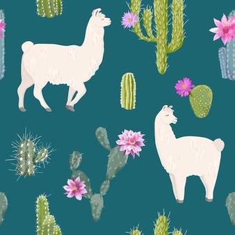 Lama und kaktus nahtloses muster