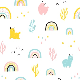 Lamas mit regenbogen, nahtloses muster der kakteen. bunte zeichentrickfigur im skandinavischen stil einfache handgezeichnete kindische art isoliert auf weißem hintergrund. ideal für kinderzimmer, babykleidung, textilien.