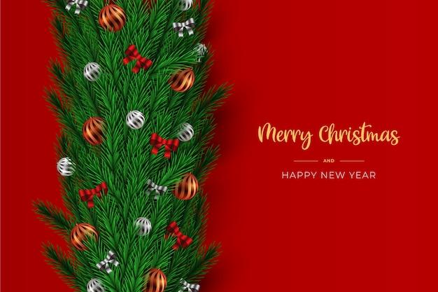 Lametta-weihnachtshintergrund mit bögen und bällen